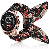 Compatible with Michael Kors Bradshaw Band, YOUkei Elastic Scrunchies with Butterfly Fabric Replacement Straps Women Compatible with MK Access Gen 5 Bradshaw/MK Bradshaw 2 (Black Flower)