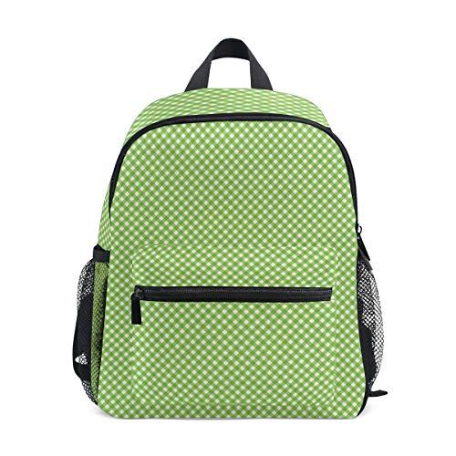 MONTOJ Grass Green Grid Sac d'école pour garçons Pliable d'école Sac à Dos