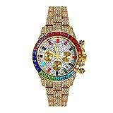 Reloj de diamantes para hombre Reloj de acero con cuarzo helado Reloj de hip hop Bling