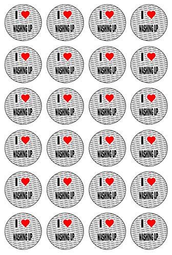 AK Giftshop Ik hou van Wassen - 24 Eetbare Cupcake Toppers Taart Decoraties - Gemakkelijk Precut Cirkels