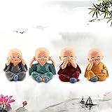 WINOMO 4 Stücke Kleine Mönch Figuren Dekofiguren für Auto, Tischdeko - 3