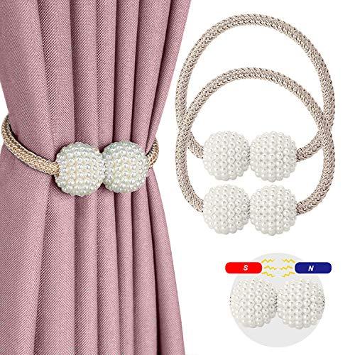 CUKCIC Magnetische Vorhang Raffhalter Perle Kugel-Style Vorhang Binder Vorhang Seil Holdback Vorhang Halter Schnallen (Champagner, 2)