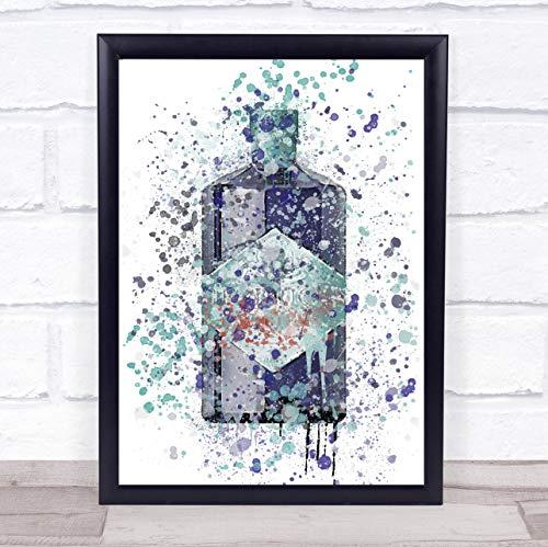 Aquarel Splatter blauw Orbium Gin fles muur kunst ingelijst Print Framed Brushed Gold Large