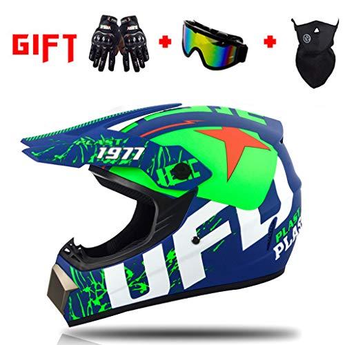 Helm Kids MTB Offroad Motorbike Crash, DOT Approvato met Goggles Handschoenen Masker goed ontworpen Beschermende Gear Full Face ATV Quad Bike Downhill (S-XL) -LWAJ