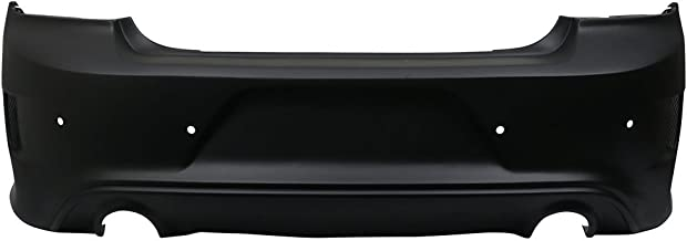 Rear Bumper Cover Compatible With 2015-2018 Dodge Charger | Rear Bumper Lip Diffuser Guard Conversion Unpainted Black PP by IKON MOTORSPORTS | 2016 2017