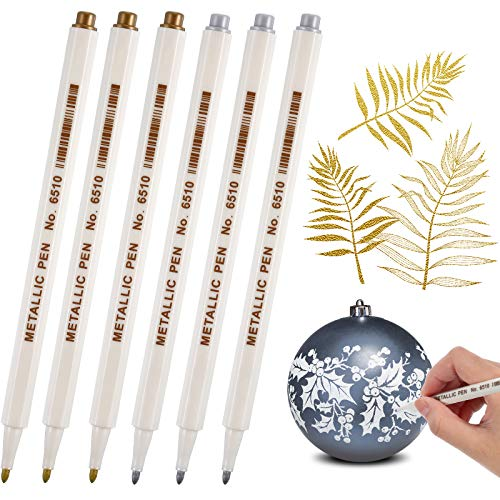 Gold and Silver Metallic Marker Pens, Metallic Permanent Markers Suitable for Cards Writing Signature Lettering Metallic Painting Pens (6)