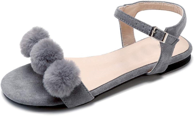 Hoxekle Woman Cute Poms Open Toe Flat Summer Sandals Beach Girl Walk Soft Strap Buckle Elegant Sandals