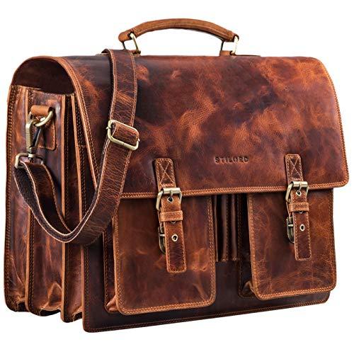 STILORD 'Anton' Aktentasche Leder XL Vintage Lehrertasche mit Laptopfach 15,6 Zoll große Ledertasche zum Umhängen Trolley aufsteckbar, Farbe:Kara - Cognac