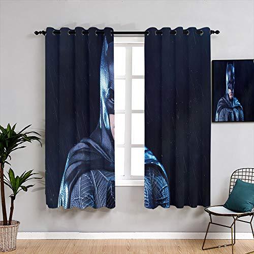 Matt Flowe Batman - Cortinas con ojales lavables para dormitorio, sala de estar, cocina, 55 x 45 cm
