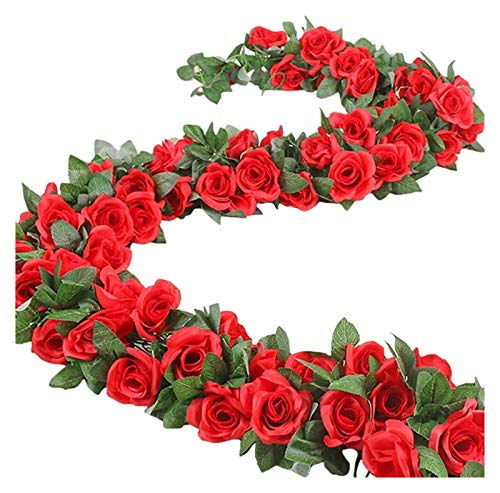LYQZ Fake Rose Vine Wreath Artificial Flower Plant Hanging Rose Ivy Wedding Garden Decoration (2 Pieces) (Color : Red/2pcs)