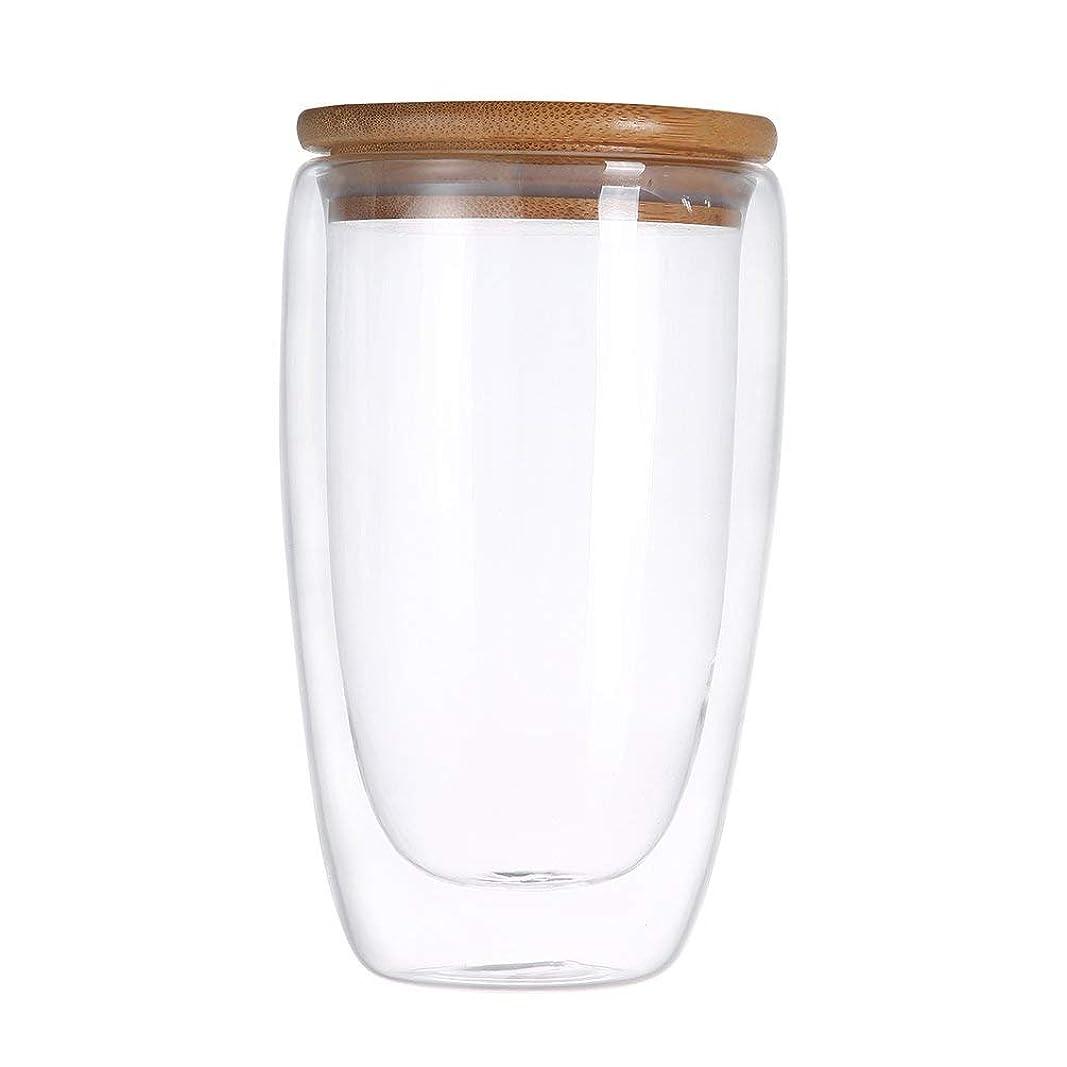 吸収裁定敵意実用的なデザインの二重層の壁クリアガラスティーカップ+竹蓋セットガラスコーヒーティーミルク絶縁マグボトル-クリア450ml