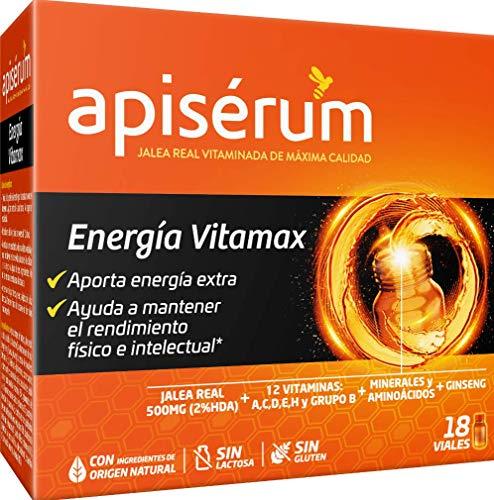 Apisérum Vitamax Viales Bebibles- Aporte de Energía Extra y Vitalidad Favorece el rendimiento físico e intelectual Con Jalea Real, Vitaminas, Minerales, Aminoácidos, Ginseng, Tratamiento para 18 días