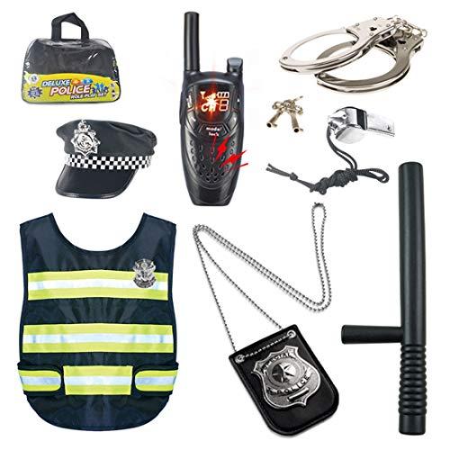 Teakpeak Disfraz De Polica Nio, 8Piezas Policia Kit Policia Uniforme Juego De rol De Juguete con Esposas para Swat, Detective, FBI, Halloween y Disfraces