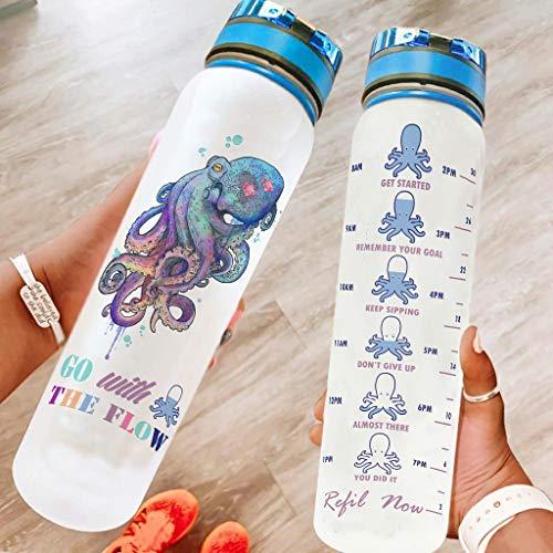 O5KFD&8 Botella de agua Cool con correa de transporte, botella de agua deportiva para gimnasio, color blanco, 1000 ml