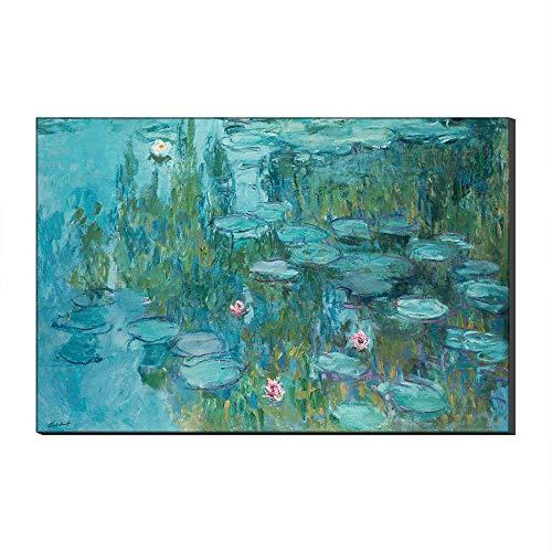Five-Seller Arte De Pared Grande Lirios De Agua Y Puente Japonés por Claude Monet Lienzo Cuadros Famosos Reproducción De Arte Impreso En Lienzo Arte para Decoraciones para El Hogar (50_x_70_cm)