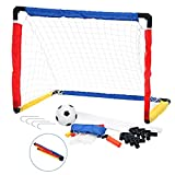 Pickwoo Soccer Set for Kids Outdoor Soccer Goal Set with net + Ball + Pump- 33'' 24'' Folding Goal – Great for Backyard Or Indoor Play Gift for Boys Girls Toddlers