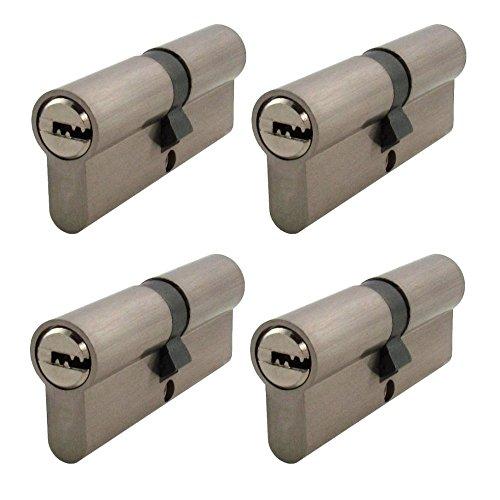 4x Zylinderschloss gleichschließend 60 mm 30x30 mit 20 Schlüssel