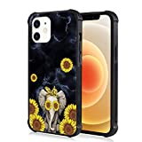 iPhone 12 Mini Case Black Marble Sunflower Elephant Pattern Design Hard Back Cover with Four Corners Shockproof Protection Anti-Drop Non-Slip Soft Bumper Frame Case for iPhone 12 Mini 5.4 Inch