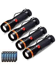 Förpackning med 4 ficklampor, Fulighture LED standardfacklor mini ficklampor zoombara, 2 lägen 70 lumen, justerbart fokus, batteri inkluderat, bärbar för gåva, inomhus belysning, akutsituationer