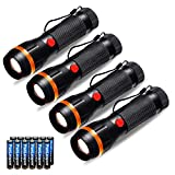 Pack of 4 Pocket Torches, Fulighture LED Standard Torches Mini Flashlights Zoomable, 2