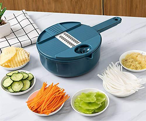 Cortadora de verduras multiusos 2021, cortadora manual de alimentos, cortadora de frutas y verduras, rallador rotatorio, pelador de papas ralladas con cesta de drenaje, cortadora de alimentos