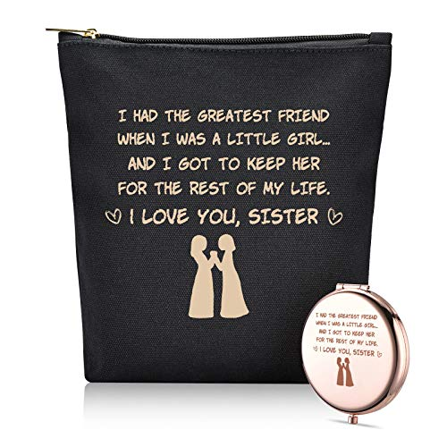 I Had The Greatest Friend -Birthday Christmas Gift For Big Sister, Soul Sister, Twin Sisters Best Friend -Makeup Bag and Mirror Kit -Set of 2
