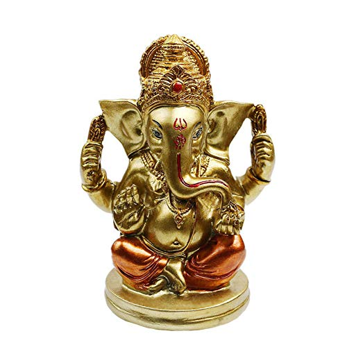 alikiki Indian Elephant Lord Ganesha Statue - Hindu Ganesh Idol Car Dashboard - India Diwali Wedding Decor Figurines