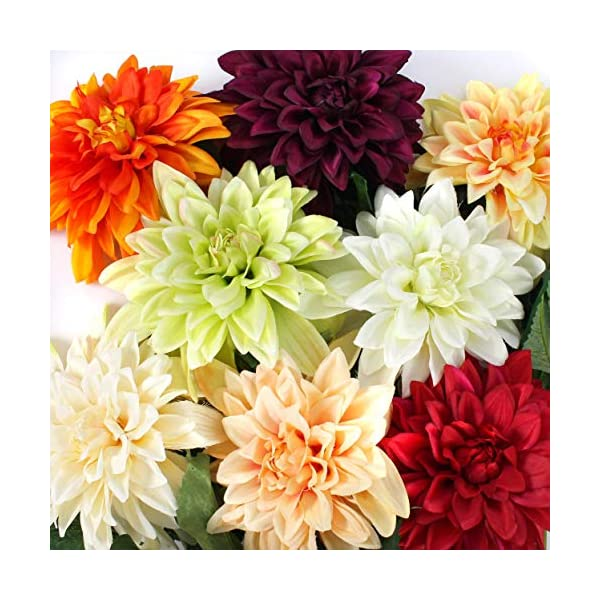 artplants.de Dalia Artificial, Crema-Verde, 80cm, Ø 20cm – Flor sintética – Dahlia Decorativa