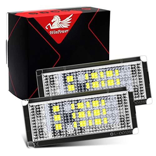 WinPower Kennzeichenbeleuchtung Glühbirnen Nummernschildbeleuchtung SMD mit CanBus Fehlerfrei 6000K Kaltweiß Super hell 12V PKW, 2 Stücke