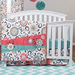 Wendy Bellissimo 4pc Nursery Bedding Baby Crib Bedding Set – Elephant Whale Floral Bedding in Navy Grey White Pink Turquoise