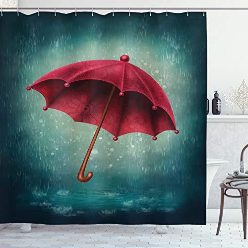 ABAKUHAUS Winter Duschvorhang, Retro Herbst Regenschirm, mit 12 Ringe Set Wasserdicht Stielvoll Modern Farbfest & Schimmel Resistent, 175 x 200 cm, Teal
