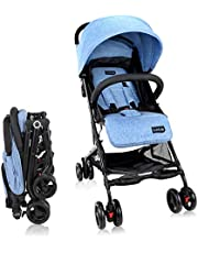 Luvlap Cruze Stroller Pram with Compact Tri-fold, Blue
