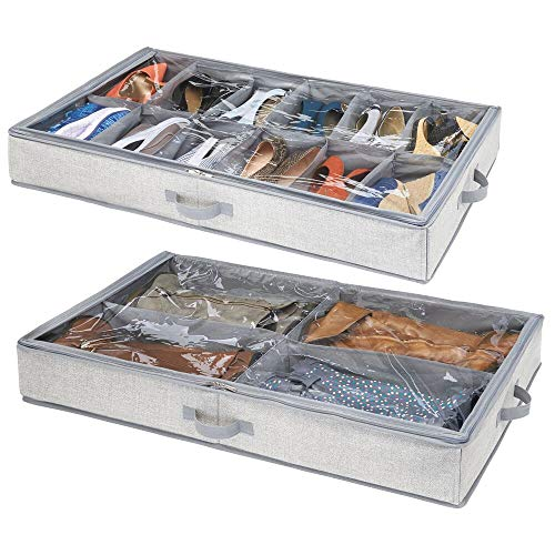 mDesign 2er-Set Unterbettkommode – Zwei Schuhorganizer inkl. Einer Aufbewahrungsbox mit 4 Fächern für Stiefel – platzsparende Aufbewahrung – grau