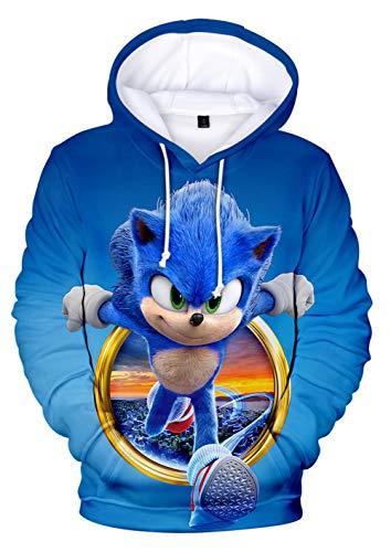 JOAYIN Kinder Sonic Sweatshirt Sonic The Hedgehog Kapuzenpullover Trendiger Mode Hoodie mit 3D-Digitaldrucks für Jungen und Mädchen(XS)