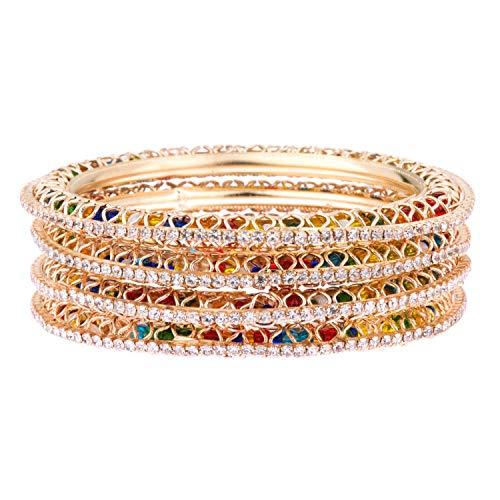 Efulgenz - Juego de pulseras de boda multicolor chapadas en oro con circonitas cbicas y bollywood indio