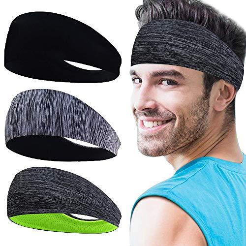 Sport Stirnbänder für Herren 3 Packs, Herren Schweißband für Fitness, Training, Laufen, Radfahren, Yoga, Basketball, Fußball, Tennis - Cooling Stretchy Breathable Moisture Wicking