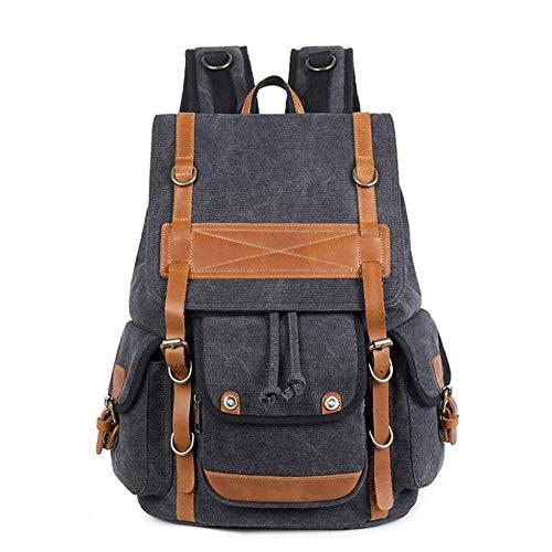 JKHOIUH Men's Vintage Canvas Leather Backpack Large Travel Rucksack Bookbag Satchel College Student Daypack Bags (Color : Black)