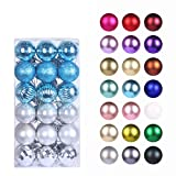 GameXcel Christmas Balls Ornaments for Xmas Tree - Shatterproof Christmas Tree Decorations Large Hanging Ball Sky Blue & Silver 1.6' x 36 Pack