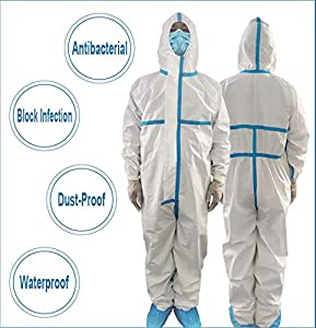 Leadtex Disposable Waterproof Protective Coverall Suit with Long Zipper Front,Non-Porous Ventilation Against infection,Size XXL