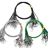 Poufu Fishing Leader Wire 60pcs Strengthen Stainless Steel with swivels and Snap