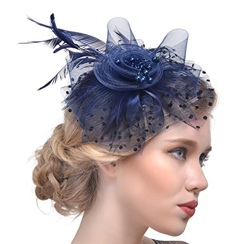 FeiYu Crafts Rooster Tails Feather Fascinator Top Hat for Girls and Women (A-Navy)