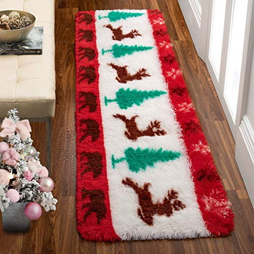 Comeet Christmas Area Rugs for Bedroom Fluffy Rugs for Kids Room, Soft Modern Indoor Runner Rugs for Living Room Shaggy Plush Carpets, Holiday Home Decor Durable Anti-slip Fuzzy Comfy Nursery 2x6 Feet