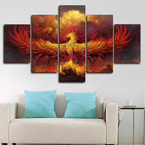 runtooer Bilder Dekorative malerei Spray malerei leinwand malerei 5 stück Phoenix God Mythologie Leinwand Wandbild, Möbel Art Deco, Rahmen