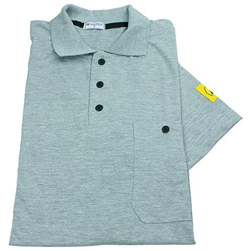 Wetec ESD-Polo-Shirt, mit grauem Kragen, S, grau