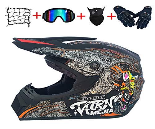 Motocross-Helm-Set (Helm, Brille, Handschuhe, Maske,Helmnetz), Lokomotiv-Stil, Ganzjahreszeiten-Mountainbike-Vollvisierhelm, Reithelm, ECE22.05 Qualitätsstandard(Dumb Black, L)