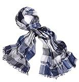 prettystern - Sciarpa di Seta XL Con Modal Share Sciarpa Estiva Con Frange a Quadri da Uomo e da Uomo - T43 Blu