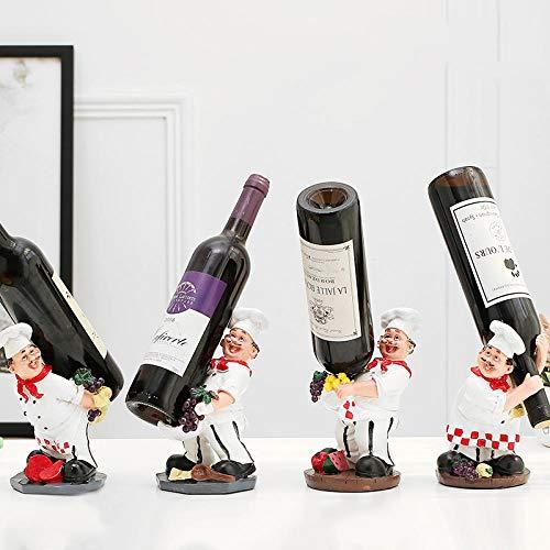 Longxs Sostenedor de Botella de Vino Personalidad Estante de Vino Decoración Sala de Estar Creativa Sostenedor de Copa de Vino Sostenedor de Vino para el hogar-Chef de Cuatro Piezas