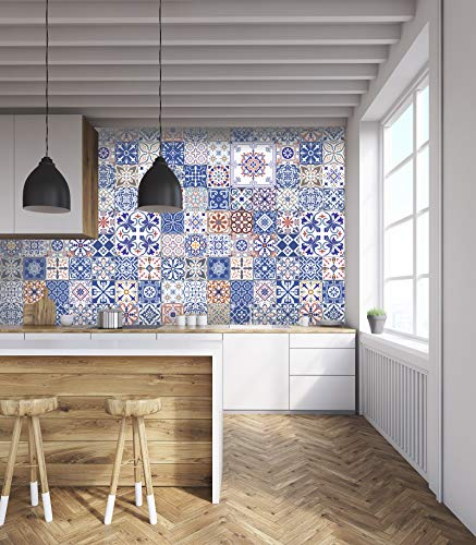 MXY UK Marina 3D Blue Tile 851 Texture Fliesen Marmor Wand Papier Druck Indoor Wall Murals Removable Wall Mural | Selbstklebende große Tapete, gewebtes Papier (benötigt Kleber), 146 x 208 cm (B x H)