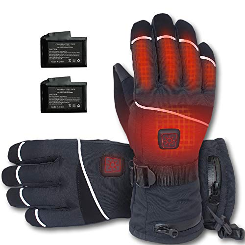 CREATRILL Electric Thermal Gloves Hand Warmer for Men & Women, Electric Heated Hands Warmer with 6 Heating Levels, Rechargeable Battery Heated Winter Gloves Waterproof Touchscreen Snow Gloves