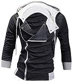 Jeansian Casual chaqueta con capucha Slim Fit Prendas con capucha Tops Deporte capa del cierre relámpago para Hombres US XL (Jacket Chest: 109-114cm) Darkgray